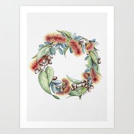 Floral Christmas Wreath, Illustration Art Print