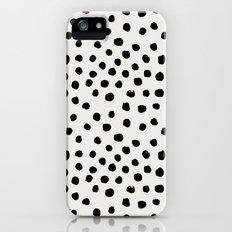Preppy brushstroke free polka dots black and white spots dots dalmation animal spots design minimal iPhone (5, 5s) Slim Case