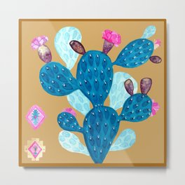 Watercolor Mexican cactus with folk flowers aztec tiles Metal Print