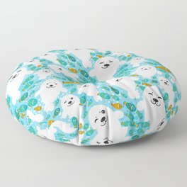 White cute fur seal and fish in water Floor Pillow