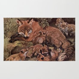 Vintage Fox and Cuba Painting (1909) Rug