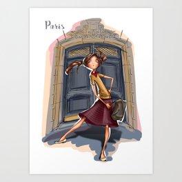 Fashion girl in Paris. Going to walk Art Print