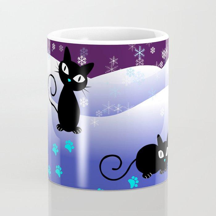 Glow in the Dark Xmas Cats Coffee Mug