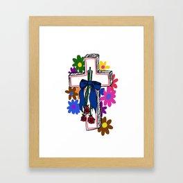 ♡ flowered cross ♡ Framed Art Print