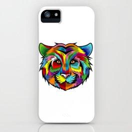 Colorful Tiger Face Multicolor Design iPhone Case