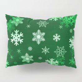Dark Green Snowflakes Pillow Sham