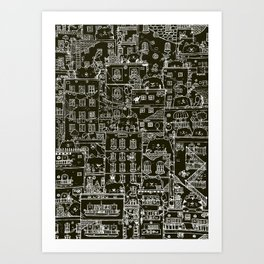 Cats and the city.first edition.negative Art Print