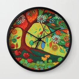 Folk Art Tree Wall Clock