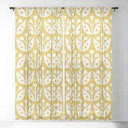 Mid Century Modern Flower Pattern Mustard Yellow Sheer Curtain