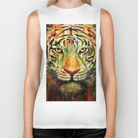tiger Biker Tanks featuring Tiger by nicebleed