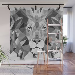 Large Silver Lion Head Wall Mural