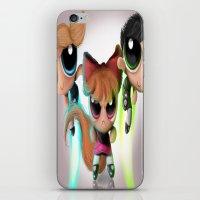 powerpuff girls iPhone & iPod Skins featuring Powerpuff Girls by A.D.A. Apparel