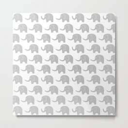 Grey Elephant Parade Metal Print