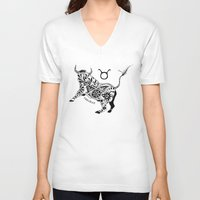 taurus V-neck T-shirts featuring Taurus by Anna Shell