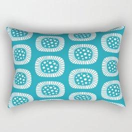 Mid Century Modern Atomic Sunburst Cerulean Rectangular Pillow
