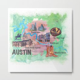Austin Texas Favorite Map with touristic Top Ten Highlights in Colorful Retro Style Metal Print