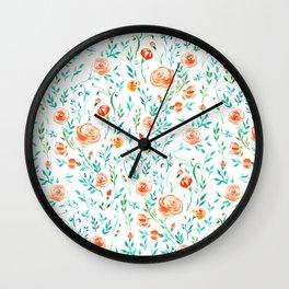 Watercolor rose garden Wall Clock