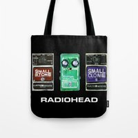 radiohead Tote Bags featuring Radiohead Pedals Bedroom Rockstar  by James Peart