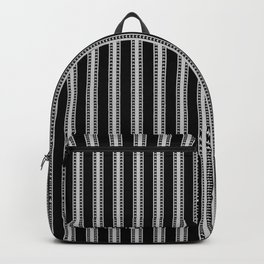 Black and White French Fleur de Lis in Mattress Ticking Stripe Backpack