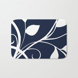 Floral Elegance Navy White Bath Mat