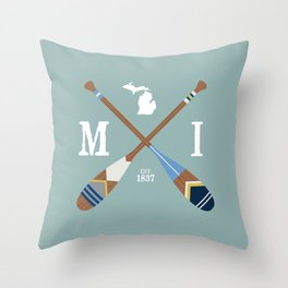 Paddle MI, Michigan Lake Life Painted Oars Throw Pillow