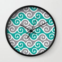 Aqua and Grey Wavy Ripple Pattern Pantone 2021 Color Of The Year Ultimate Gray  Wall Clock