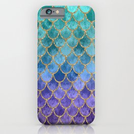 Blue Mermaid Fish Scales Ombre iPhone Case