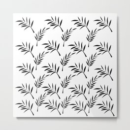 White and Black Leaf Design Metal Print
