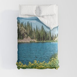 Yellow Flower Lake // Beautiful Daylight Evergreen Mountain Landscape Photograph Comforters