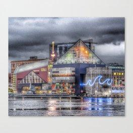 Baltimore Inner Harbor National Aquarium Skyline At Night Canvas Print