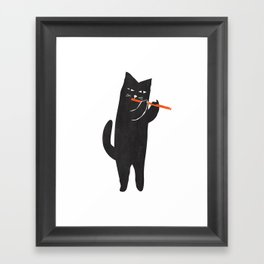 Black cat with flute Framed Art Print