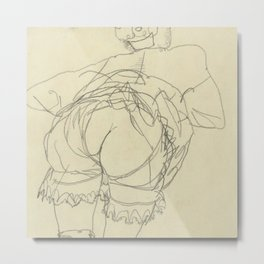 "Egon Schiele ""Girl Bending Forward, Back View"" Metal Print"