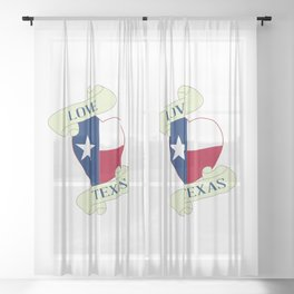 Love Texas Heart And Scroll Sheer Curtain