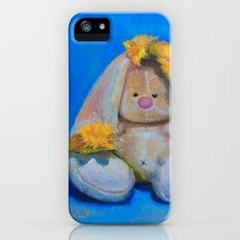 Flower Power, art print, teddy bear art, music teacher, music wall art, bunny girl, gift for her iPhone Case