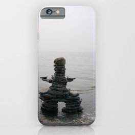 Stone Inukshuk on The Shore Looking Out Over Calm Water ~ A Meaningful Messenger iPhone Case