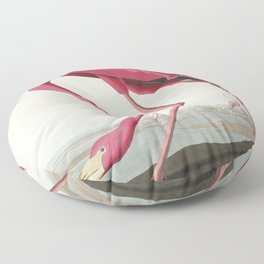 Pink Flamingo from Birds of America (1827) by John James Audubon (1785 - 1851 ), etched by Robert Havell (1793 - 1878) Floor Pillow