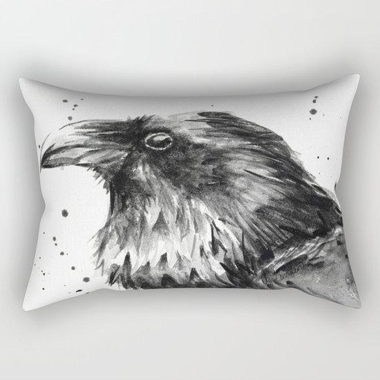 Raven Watercolor Bird Animal Rectangular Pillow