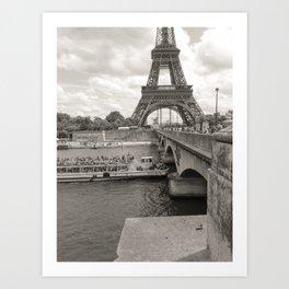 Eiffel Tower Black and white Art Print