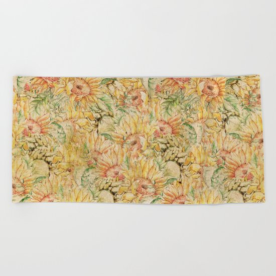 Vintage Sunflowers #1 Beach Towel