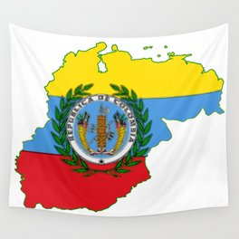 Colombia Map with Colombian Flag Wall Tapestry