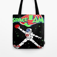 space jam Tote Bags featuring space jam by Vincent Trinidad