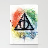 deathly hallows Stationery Cards featuring Deathly Hallows  by Luke Jonathon Fielding