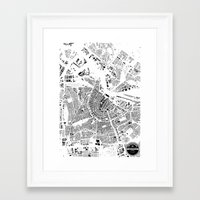 amsterdam Framed Art Prints featuring AMSTERDAM by Maps Factory