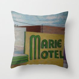 Panama City Marie Motel Throw Pillow