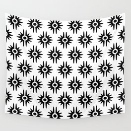 Mid Century Modern Bang Pattern 272 Black and White Wall Tapestry