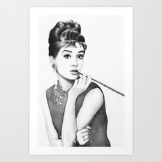 Audrey Hepburn Breakfast at Tiffanys Art Print