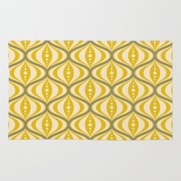 Retro Mid-Century Saucer Pattern in Yellow, Gray, Cream Rug