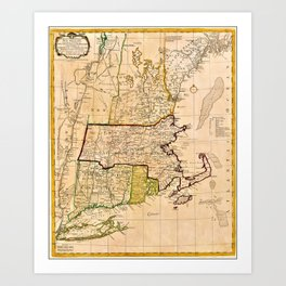 1771 Old World Map of New England Art Print