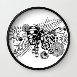 Tropical Leaves and Flowers Wall Clock
