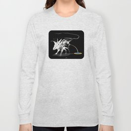 Rat and rainbow. White on dark on background - (Red eyes series) Long Sleeve T-shirt